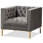 Baxton Studio Zanetta Luxe and Glamour Grey Velvet Upholstered Gold Finished Lounge Chair Baxton Studio restaurant furniture, hotel furniture, commercial furniture, wholesale living room furniture, wholesale chair, classic accent chairs