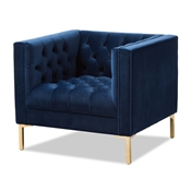 Baxton Studio Zanetta Luxe and Glamour Navy Velvet Upholstered Gold Finished Lounge Chair Baxton Studio restaurant furniture, hotel furniture, commercial furniture, wholesale living room furniture, wholesale chair, classic accent chairs