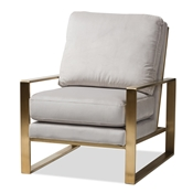 Baxton Studio Mietta Luxe and Glamour Grey Velvet Upholstered Gold Finished Lounge Chair Baxton Studio restaurant furniture, hotel furniture, commercial furniture, wholesale living room furniture, wholesale chair, classic accent chairs
