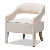 Baxton Studio Floriane Modern and Contemporary Beige Fabric Upholstered Lounge Chair Baxton Studio restaurant furniture, hotel furniture, commercial furniture, wholesale living room furniture, wholesale chair, classic accent chairs