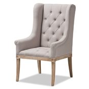 Baxton Studio Cedulie French Provincial Beige Fabric Upholstered Whitewashed Oak Lounge Chair Baxton Studio restaurant furniture, hotel furniture, commercial furniture, wholesale living room furniture, wholesale chair, classic accent chairs