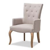 Baxton Studio Clotille French Provincial Beige Fabric Upholstered Whitewashed Oak Lounge Chair Baxton Studio restaurant furniture, hotel furniture, commercial furniture, wholesale living room furniture, wholesale chair, classic accent chairs