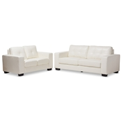 Baxton Studio Adalynn Modern and Contemporary White Faux Leather Upholstered 2-Piece Livingroom Set Baxton Studio restaurant furniture, hotel furniture, commercial furniture, wholesale living room furniture, wholesale living room set, classic sofa sets
