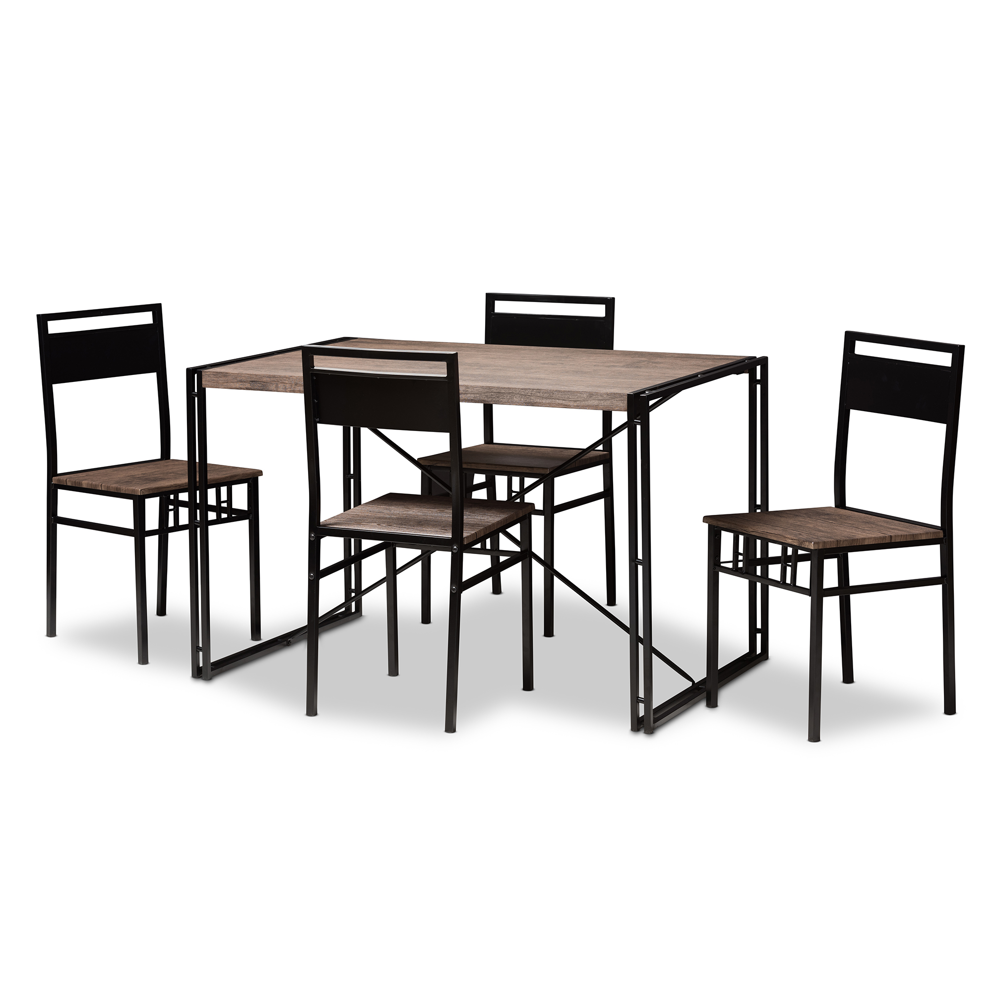 Baxton Studio Mamaine Rustic And Industrial Brown Wood Finished Matte Black  Frame 5 Piece Dining ...