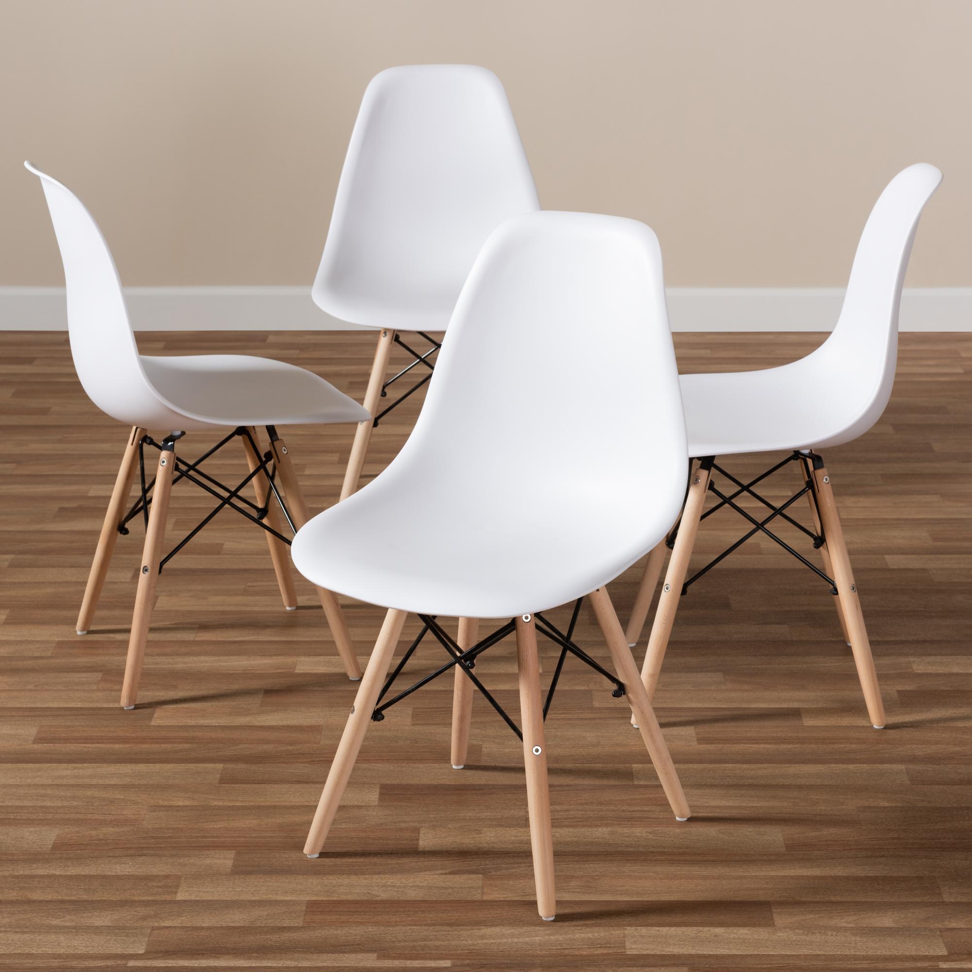 ... Baxton Studio Sydnea Mid Century Modern White Acrylic Brown Wood  Finished Dining Chair (Set ...