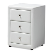 Baxton Studio Tessa Modern and Contemporary White Faux Leather Upholstered 3-Drawer Nightstand Baxton Studio restaurant furniture, hotel furniture, commercial furniture, wholesale bedroom furniture, wholesale nightstand, classic nightstand