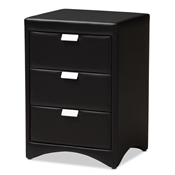 Baxton Studio Talia Modern and Contemporary Black Faux Leather Upholstered 3-Drawer Nightstand Baxton Studio restaurant furniture, hotel furniture, commercial furniture, wholesale bedroom furniture, wholesale nightstand, classic nightstand