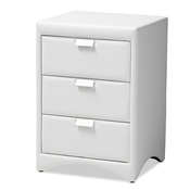 Baxton Studio Talia Modern and Contemporary White Faux Leather Upholstered 3-Drawer Nightstand Baxton Studio restaurant furniture, hotel furniture, commercial furniture, wholesale bedroom furniture, wholesale nightstand, classic nightstand