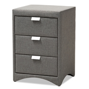 Baxton Studio Talia Modern and Contemporary Grey Fabric Upholstered 3-Drawer Nightstand Baxton Studio restaurant furniture, hotel furniture, commercial furniture, wholesale bedroom furniture, wholesale nightstand, classic nightstand