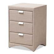 Baxton Studio Talia Modern and Contemporary Beige Fabric Upholstered 3-Drawer Nightstand Baxton Studio restaurant furniture, hotel furniture, commercial furniture, wholesale bedroom furniture, wholesale nightstand, classic nightstand