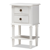Baxton Studio Audrey Country Cottage Farmhouse White Finished 2-Drawer Nightstand Baxton Studio restaurant furniture, hotel furniture, commercial furniture, wholesale bedroom furniture, wholesale nightstand, classic nightstand