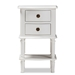 Baxton Studio Audrey Country Cottage Farmhouse White Finished 2-Drawer Nightstand - GLA5-White-NS