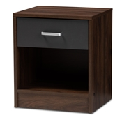 Baxton Studio Hansel Modern and Contemporary 1-Drawer Dark Brown and Dark Grey Finished Nightstand Baxton Studio restaurant furniture, hotel furniture, commercial furniture, wholesale bedroom furniture, wholesale nightstand, classic nightstand