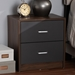 Baxton Studio Hansel Modern and Contemporary 2-Drawer Dark Brown and Dark Grey Finished Nightstand - SENT014-Columbia Brown/Dark Grey-NS