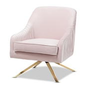 Baxton Studio Amaya Luxe and Glamour Light Pink Velvet Fabric Upholstered Gold Finished Base Lounge Chair Baxton Studio restaurant furniture, hotel furniture, commercial furniture, wholesale living room furniture, wholesale chair, classic accent chair