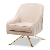 Baxton Studio Amaya Luxe and Glamour Light Beige Velvet Fabric Upholstered Gold Finished Base Lounge Chair Baxton Studio restaurant furniture, hotel furniture, commercial furniture, wholesale living room furniture, wholesale chair, classic accent chair