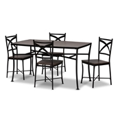 Baxton Studio Josie Rustic and Industrial Brown Wood Finished Matte Black Frame 5-Piece Dining Set Baxton Studio restaurant furniture, hotel furniture, commercial furniture, wholesale dining furniture, wholesale dining set, classic dining set