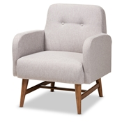 Baxton Studio Perrine Mid-Century Modern Greyish Beige Fabric Upholstered Walnut-Finished Wood Lounge Chair Furniture/Seatings/Chairs/Accent Chairs/Living Room Chairs/Upholstered Chairs/Fabric Chairs