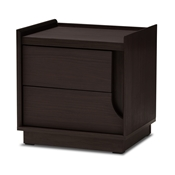 Baxton Studio Larsine Modern and Contemporary Brown Finished 2-Drawer Nightstand Furniture/Nightstands/Contemporary Nightstands/Wooden Nightstands/Brown Nightstands