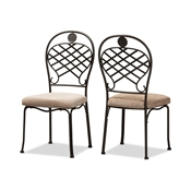 Baxton Studio Hera Rustic Industrial Beige Fabric Upholstered and Black Finished Metal Dining Chair Set Baxton Studio restaurant furniture, hotel furniture, commercial furniture, wholesale dining furniture, wholesale chair, classic dining chair