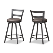 Baxton Studio Arjean Rustic and Industrial Grey Faux Leather Upholstered Pub Stool Set of 2 Baxton Studio restaurant furniture, hotel furniture, commercial furniture, wholesale bar furniture, wholesale bar stool, classic bar stools