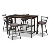 Baxton Studio Arjean Rustic and Industrial Grey Faux Leather Upholstered 5-Piece Pub Set