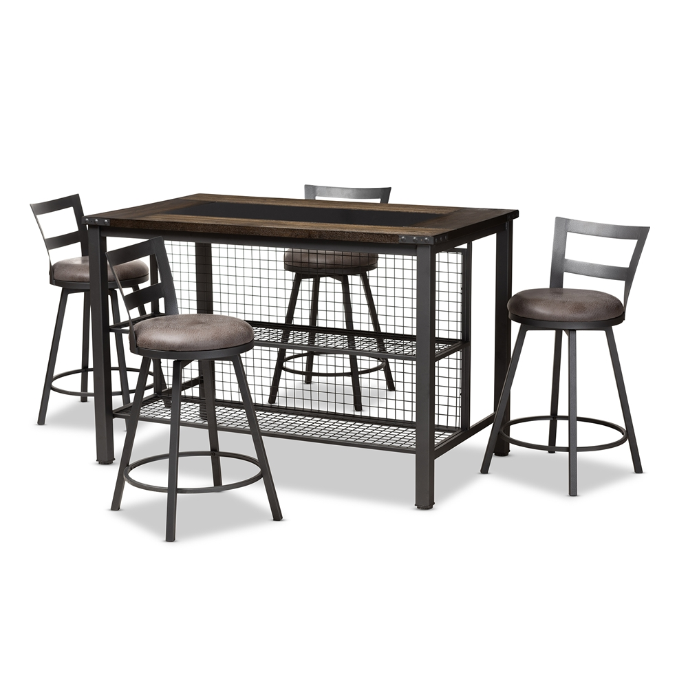 Baxton studio arjean rustic and industrial grey faux leather upholstered 5 piece pub set