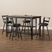 Baxton Studio Arjean Rustic and Industrial Grey Faux Leather Upholstered 5-Piece Pub Set - C1866P-Walnut/Grey-5PC-Set
