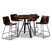 Baxton Studio Carvell Rustic and Industrial Dark Brown Faux Leather Upholstered 5-Piece Pub Set Baxton Studio restaurant furniture, hotel furniture, commercial furniture, wholesale bar furniture, wholesale pub set, classic pub sets