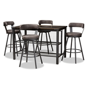 Baxton Studio Arcene Rustic and Industrial Antique Grey Faux Leather Upholstered 5-Piece Pub Set Baxton Studio restaurant furniture, hotel furniture, commercial furniture, wholesale bar furniture, wholesale pub set, classic pub sets
