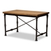 Baxton Studio Verdin Vintage Rustic Industrial Style Wood and Dark Bronze-finished Criss Cross Desk - YLX-4070