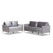 Baxton Studio Clara Modern and Contemporary Grey Velvet Fabric Upholstered 2-Piece Living Room Set Baxton Studio restaurant furniture, hotel furniture, commercial furniture, wholesale living room furniture, wholesale sofa, classic sofa sets