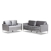 Baxton Studio Clara Modern and Contemporary Grey Velvet Fabric Upholstered 2-Piece Living Room Set - Clara-Grey-2PC-Set