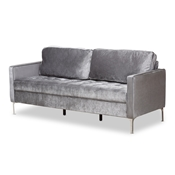 Baxton Studio Clara Modern and Contemporary Grey Velvet Fabric Upholstered 3-Seater Sofa Baxton Studio restaurant furniture, hotel furniture, commercial furniture, wholesale living room furniture, wholesale sofa, classic sofas
