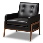 Baxton Studio Perris Mid-Century Modern Black Faux Leather Upholstered Walnut Wood Lounge Chair Baxton Studio restaurant furniture, hotel furniture, commercial furniture, wholesale living room furniture, wholesale chair, classic accent chairs