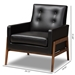Baxton Studio Perris Mid-Century Modern Black Faux Leather Upholstered Walnut Wood Lounge Chair - BBT8042-Black-CC