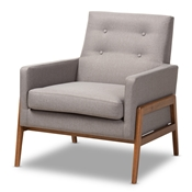 Baxton Studio Perris Mid-Century Modern Grey Fabric Upholstered Walnut Wood Lounge Chair Baxton Studio restaurant furniture, hotel furniture, commercial furniture, wholesale living room furniture, wholesale chair, classic accent chairs