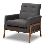 Baxton Studio Perris Mid-Century Modern Dark Grey Fabric Upholstered Walnut Wood Lounge Chair Baxton Studio restaurant furniture, hotel furniture, commercial furniture, wholesale living room furniture, wholesale chair, classic accent chairs