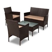 Baxton Studio Alois Modern and Contemporary Beige Fabric Upholstered and Dark Brown Rattan 4-Piece Outdoor Patio Lounge Set Baxton Studio restaurant furniture, hotel furniture, commercial furniture, wholesale outdoor furniture, wholesale patio, classic patio sets