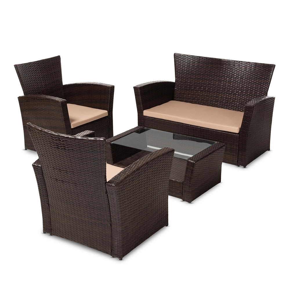 Baxton Studio Verlin Modern and Contemporary Beige Fabric Upholstered and  Dark Brown Rattan 4-Piece ... - Wholesale Patio Sets Wholesale Outdoor Furniture Wholesale Furniture