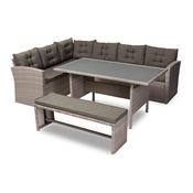 Baxton Studio Eneas Modern and Contemporary Dark Grey Fabric Upholstered and Grey Rattan 3-Piece Outdoor Patio Lounge Corner Sofa Set Baxton Studio restaurant furniture, hotel furniture, commercial furniture, wholesale outdoor furniture, wholesale patio, classic patio sets