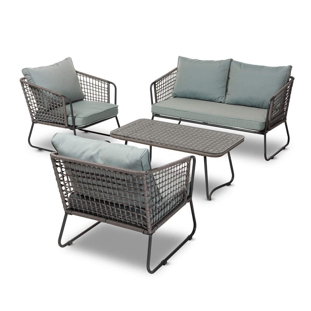 Baxton Studio Emil Modern And Contemporary Sky Blue Fabric Upholstered Grey Rattan 4 Piece