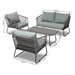 Baxton Studio Emil Modern and Contemporary Sky Blue Fabric Upholstered and Grey Rattan 4-Piece Outdoor Patio Lounge Set - MLM-210318-Grey/Sky Blue