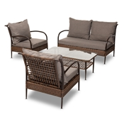 Baxton Studio Tiago Modern and Contemporary Brown Fabric Upholstered and Dark Brown Rattan 4-Piece Outdoor Patio Lounge Set Baxton Studio restaurant furniture, hotel furniture, commercial furniture, wholesale outdoor furniture, wholesale patio, classic patio sets
