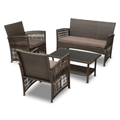 Baxton Studio Valda Modern and Contemporary Brown Fabric Upholstered and Dark Brown Rattan 4-Piece Outdoor Patio Lounge Set Baxton Studio restaurant furniture, hotel furniture, commercial furniture, wholesale outdoor furniture, wholesale patio, classic patio sets