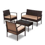 Baxton Studio Aronne Modern and Contemporary Beige Fabric Upholstered and Dark Brown Rattan 4-Piece Outdoor Patio Lounge Set Baxton Studio restaurant furniture, hotel furniture, commercial furniture, wholesale outdoor furniture, wholesale patio, classic patio sets