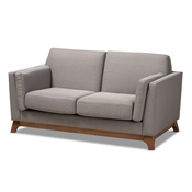 Baxton Studio Sava Mid-Century Modern Grey Fabric Upholstered Walnut Wood 2-Seater Loveseat Baxton Studio restaurant furniture, hotel furniture, commercial furniture, wholesale living room furniture, wholesale sofa, classic loveseats