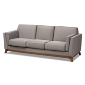 Baxton Studio Sava Mid-Century Modern Grey Fabric Upholstered Walnut Wood 3-Seater Sofa Baxton Studio restaurant furniture, hotel furniture, commercial furniture, wholesale living room furniture, wholesale sofa, classic sofas