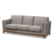 Baxton Studio Sava Mid-Century Modern Grey Fabric Upholstered Walnut Wood 3-Seater Sofa - BBT8037-Grey-SF