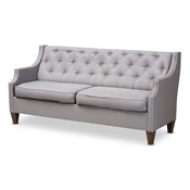 Baxton Studio Celine Modern and Contemporary Grey Fabric Upholstered Button-Tufted 3-Seater Sofa Baxton Studio restaurant furniture, hotel furniture, commercial furniture, wholesale living room furniture, wholesale sofa, classic sofas
